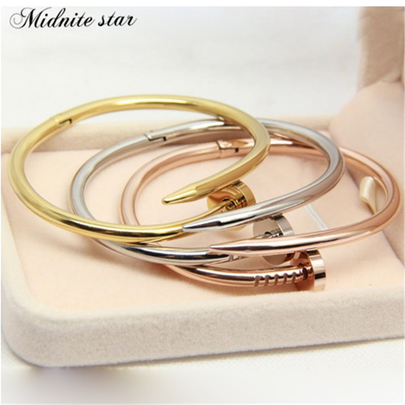 2019 Nail Bangle Stainless Steel Jewelry Brand Love Bangle Bracelet For Women High Quality Gold Colour Women Cuff bangle