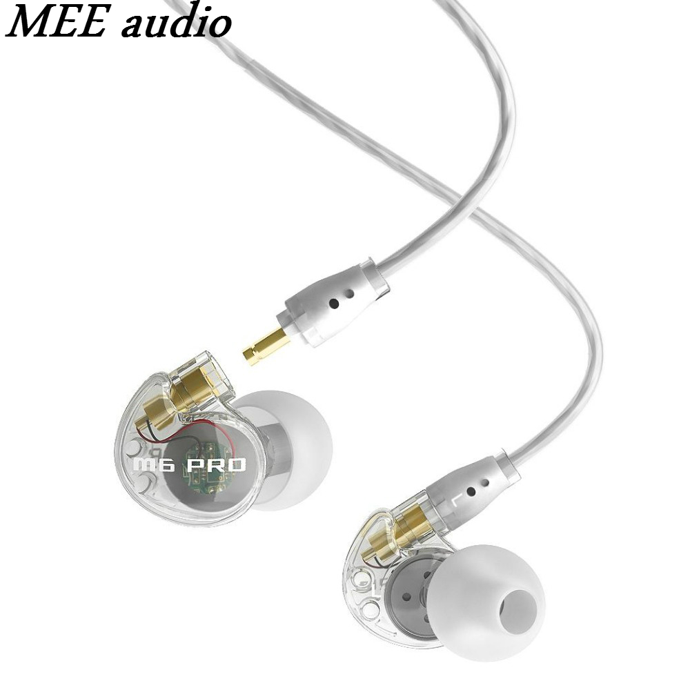 MEE Audio M6 PRO Universal-Fit Noise-Isolating Musician's In-Ear Monitors With Detachable Cables Transparent Headphones With Mic  dhl free 2pcs black white m6 pro universal 3 5mm wired in ear earphone noise isolating musician monitors brand new headphones