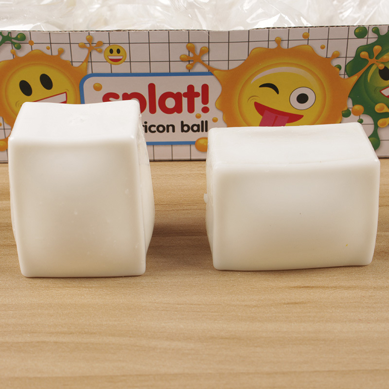 Tofu Antistress Squishy Toy 5.5CM Elasticity Anti Stress Squishy Relief Relaxing Joke Prank Novelty Toy Gadget White Cubes
