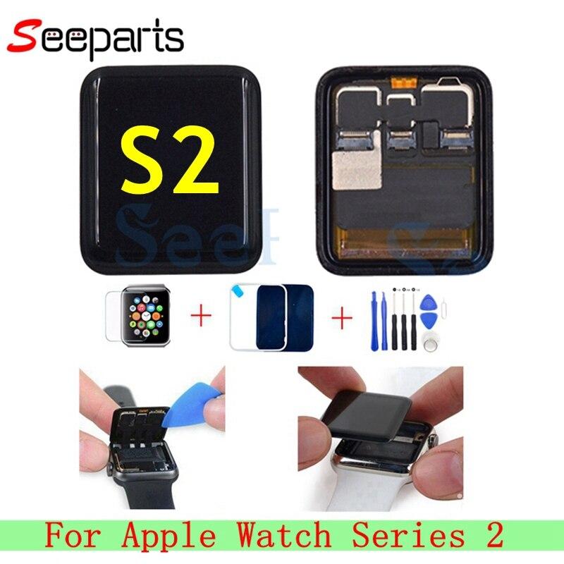Utilizzato Per Apple Serie di Orologi 2 Display LCD di Tocco Digitale Dello Schermo Series2 S2 38mm/42mm Pantalla di Ricambio + Vetro temperato + Strumenti
