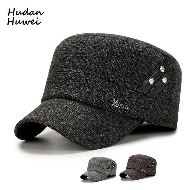 Autumn Winter Wool Felt Flat Cap for Men Fashion Military Cap Army Cap  Plain Dad Hat with Rivet Thicken Keep Warm Earmuffs Hats 216f9009129