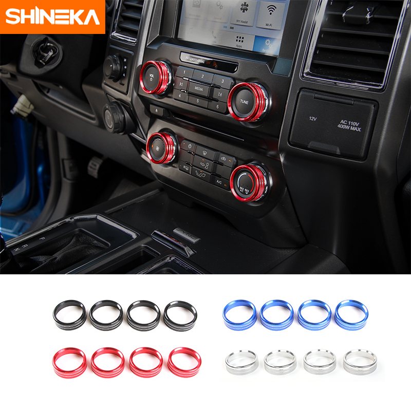 SHINEKA Auto High Quality Air Conditioner & Audio Switch Button Decorative Ring Cover Trim Sticker Set for Ford F150 XLT 2016+