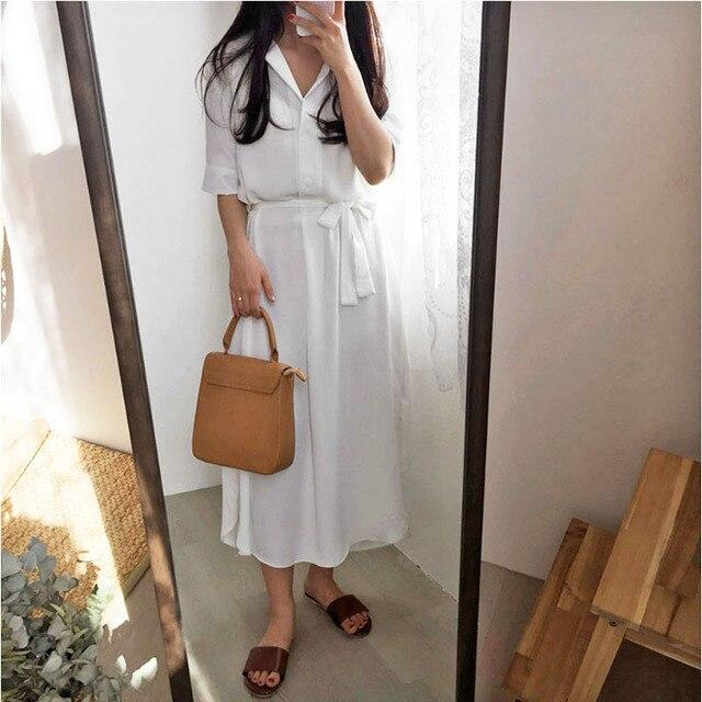 ff48f755272d Good quality Summer Long shirt Dress Short Sleeve woman Casual turn down  collar V Neck Fashion maxi Dress kpop loose white blue