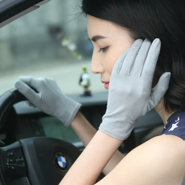 New Suede Sun Protection Gloves Male Female Summer Thin Short Style Anti-Slip Driving Gloves Sweat Absorption Mittens SZ008W 1