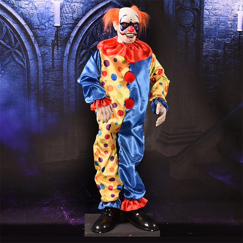 Creepy Clown Halloween Decorations.Us 120 6 55 Off Halloween Accessories Scary Clown Ghost Eyes Halloween Decoration Horror Glowing Screaming Swing Ghost Halloween Animated Props In