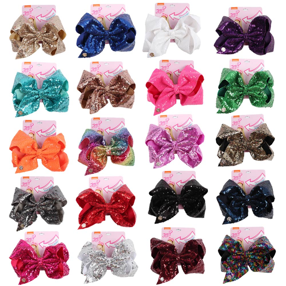 Large Sequin JoJo Bow With Hair Clip For Girls Kids Handmade Bling Jumbo Rainbow Knot Hair Bows Hairgrips Hair Accessories