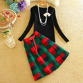 Alpha New 2 piece Set Women Skirts and Sweater Suits Vintage Plaids Pleated Skirts Knee Length Slim Sweater Tops