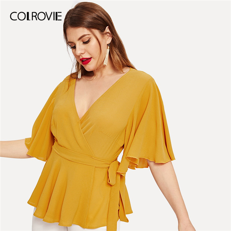 COLROVIE Plus Size Ginger V Neck Ruffle Belted Wrap Elegant   Blouse     Shirt   Women Peplum Top 2019 Summer Half Sleeve Office   Shirts