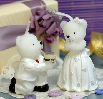 10pcs Lovely Bears Lover Bear Candle Wedding Baby Shower Birthday Souvenirs Gifts Favor Packaged with PVC Box