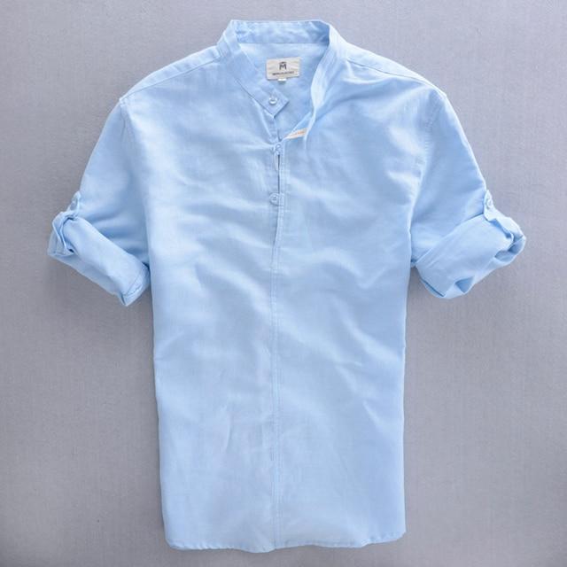 Men 39 S Casual Shirt 2015 Summer Natural Linen Cotton Blend