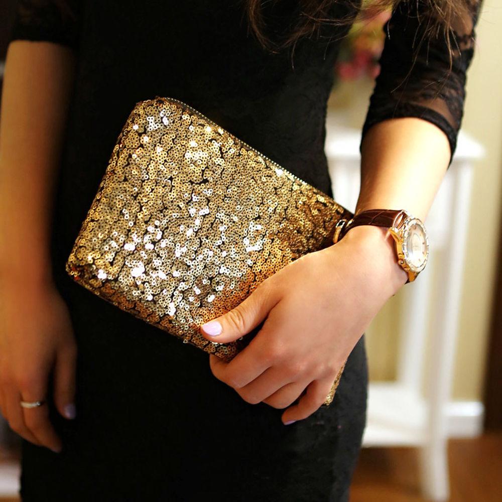 NEW Womens Fashion Sparkling Sequins Clutch Evening Party Bag Handbag Tote Purse new fashion womens elegant pleated satin rhinestone fashion clutch handbags evening bag