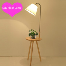 Artpad Nordic Tripod Wooden Floor Lamp With Wood Shelf Fabric Lampshade E27 Modern LED Standing Floor Lamps for Living Room