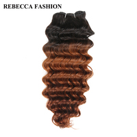 Rebecca Non Remy Human Hair Brazilian Deep Wave Hair Weave Bundles 100g Pre Colored Ombre Brown