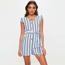 Sexy V-neck Striped Lacing Playsuit Women Casual Ruffles Short Sleeve Loose Rompers Summer Ladies Fashion Elegant Jumpsuits New(China)
