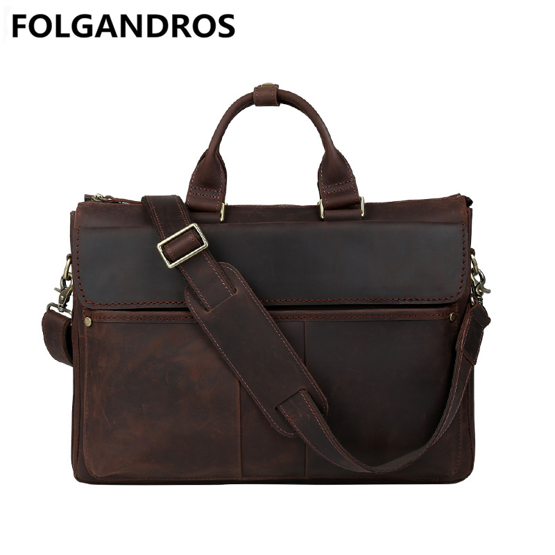 Famous Brand Men Briefcase Genuine Leather Messenger Shoulder Bag Vintage Document Tote Real Cowhide Bolsa Designer Laptop Bags-in Briefcases from Luggage & Bags    1