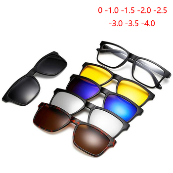 Retro 5+1 Polarized Myopia Clip Sunglasses Eyeglasses Frame For Men Women Five Magnet Set Mirror 0 -1 -1.5 -2 -2.5 -3 -3.5 -4.0
