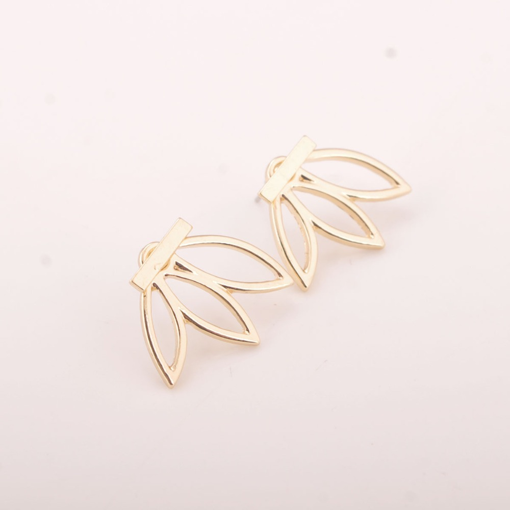 2016 Summer Women Ear Jacket Alloy T Bar Hollow Out Leaves Front And Back  Stud Earring