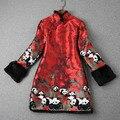 Panda impresso dress 2016 outono inverno do vintage jacquard de algodão acolchoado das mulheres casuais vestidos vestidos plus size ae35