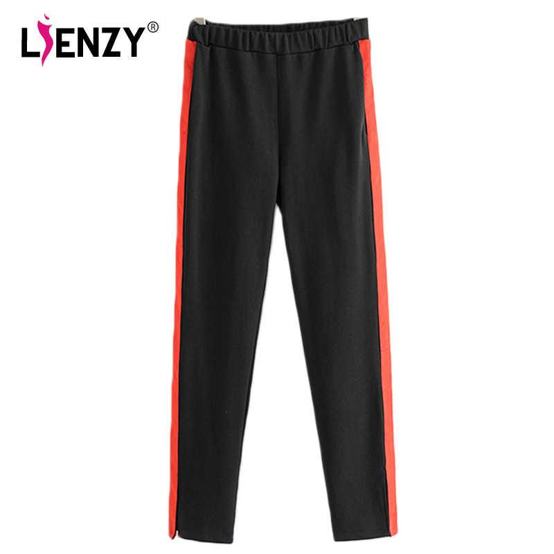 c3e76081db995 LIENZY Winter Fashion Women Pant Red Side Stripes Black Femal Pants Elastic  Splited Ladies Bottom