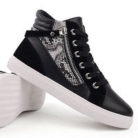 2017 personality high to help shoes white hip-hop board shoes spring British high BangWear-resistant non-slip soft and comfortab