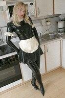 (LS22) مثير أسود اللاتكس خادمة اللباس مع الأبيض لاتكس المطاط صنم zentai دعوى ارتداء المئزر