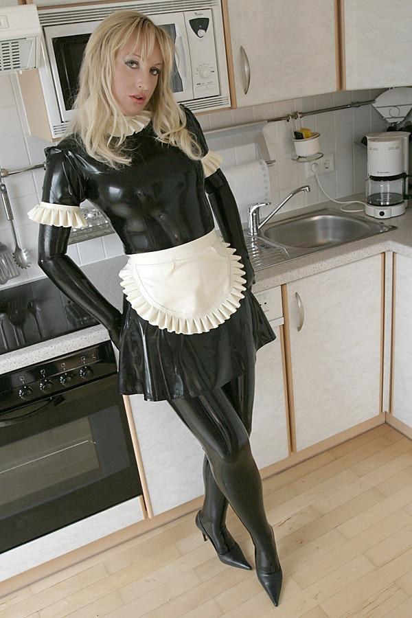 (LS22) Sexy robe de femme de chambre en Latex noir avec tablier en Latex blanc caoutchouc fétiche Zentai costume porter