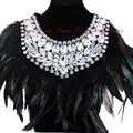 Fashion Pendant Chain Glass Crystal Feather Choker Statement Bib Necklace