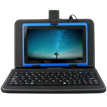 Cheap price YUNTAB 7″ blue color Q88 Android 4.4 Tablet PC Allwinner A33 1.5GHz Quad Core  with dual camera(add black keyboard)