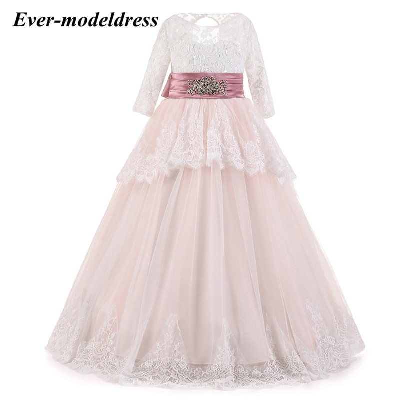 Floral Lace Long   Flower     Girl     Dresses   Elegant   Dresses   for   Girls   Prom Ball Gowns vestidos de fiesta largos elegantes de ga
