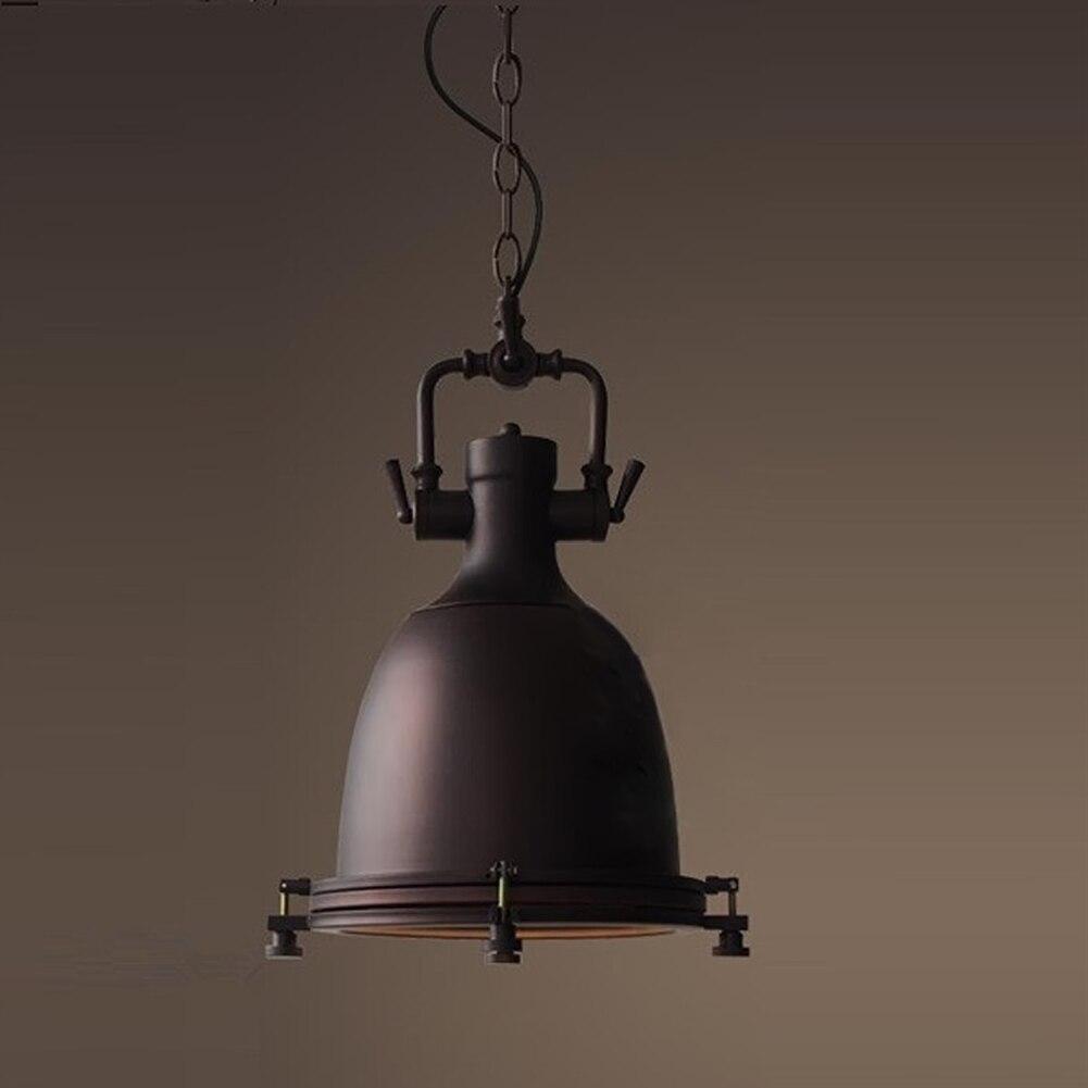 Large Heavy 39*39cm Lustres Home Vintage Industrial 100-240v Metal Lamp Vintage Black Chrome Pendant Light Big Retro Lamp