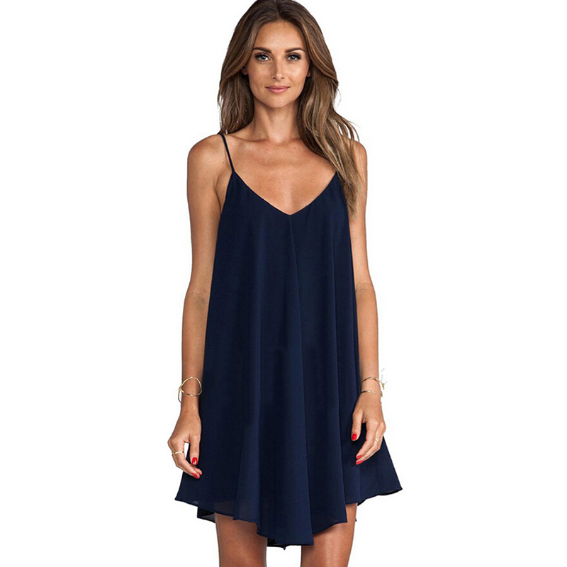 Summer <font><b>Chiffon</b></font> V-neck <font><b>Mini</b></font> <font><b>Dress</b></font> Women <font><b>Sexy</b></font> <font><b>Backless</b></font> Beach <font><b>Dress</b></font> Casual Ladies Loose Spaghetti Strap <font><b>Dresses</b></font> image