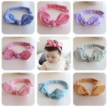New Korea  Grils Rabbit Ears Headband  Baby Cotton Bow Hair Bands Colorful Dot Hair Ties Hair Accessories-C colorful dot rabbit print tee