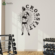 Crossfit Wall Vinyl Decal Fitness Gym Women Sport  Sticker Home Decor Living Room Murals Art Finess Club NY-152