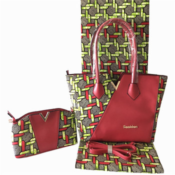 Nice 3pcs/set African cotton wax fabric (6yards/lot) matching real wax handbag and purse bag set for lady FB8-3