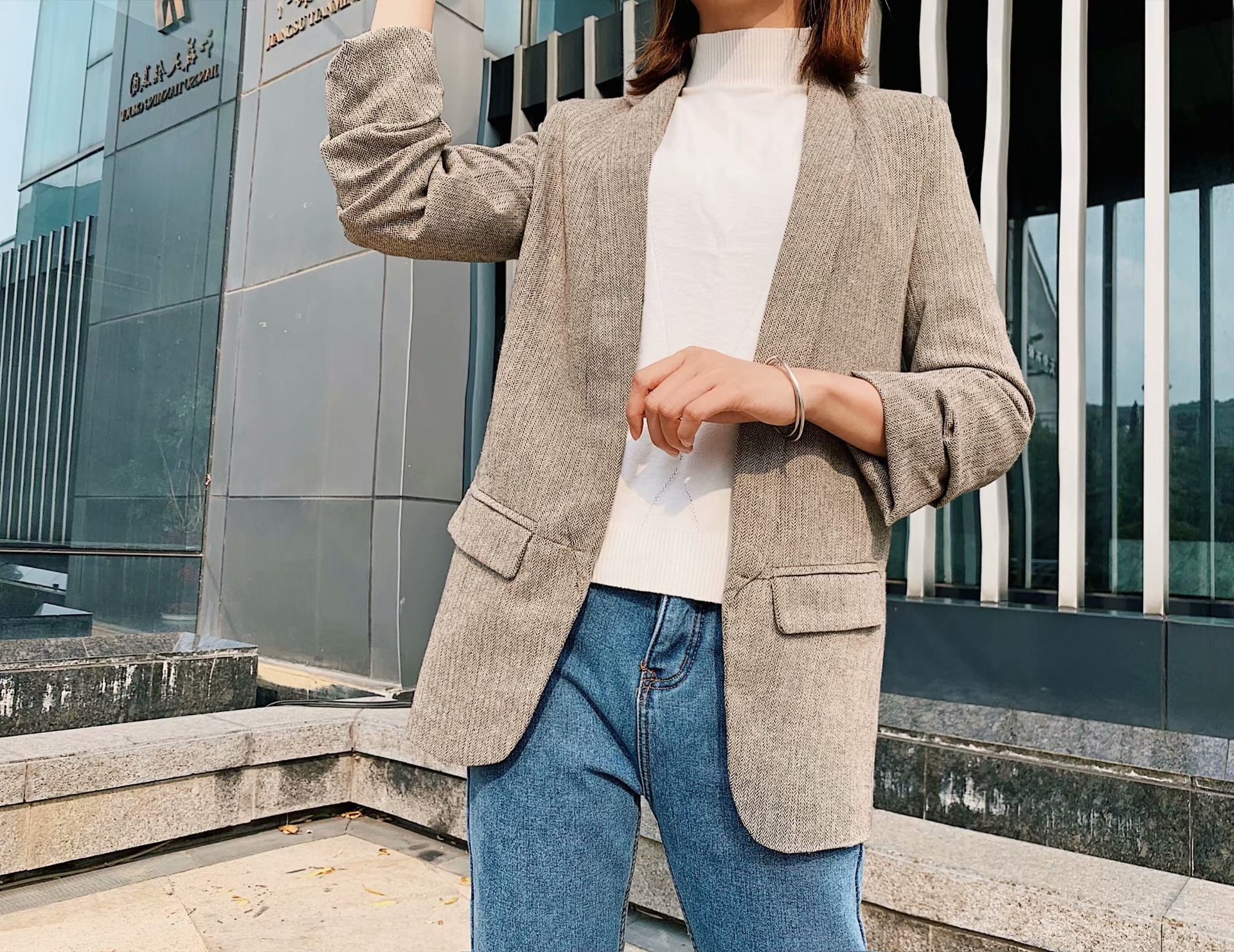Autumn Winter Suit Collar Fold Seven Cent Sleeve Repair Body Thin Character Twill Long Casual Coat Women
