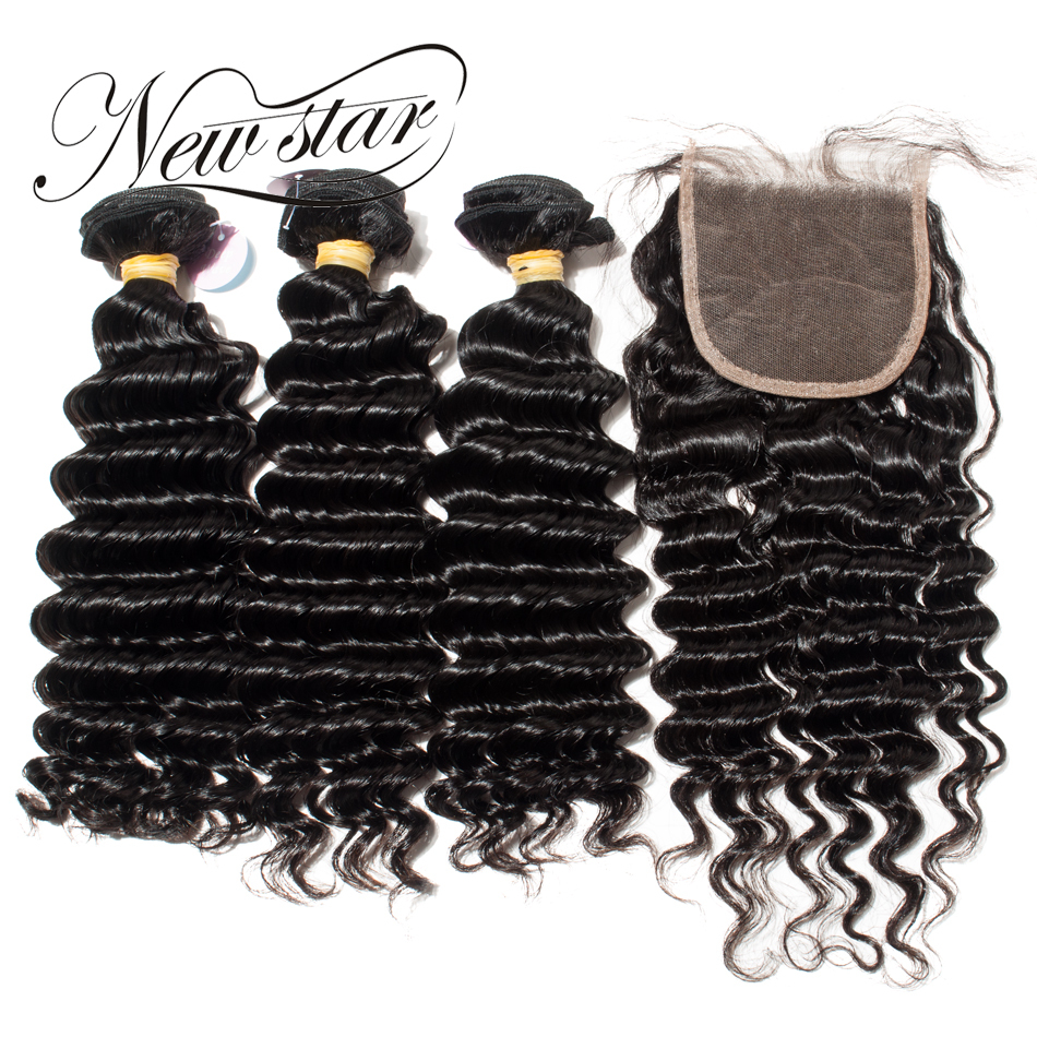 New Star Vague Profonde Brésilienne de Cheveux Humains Extension 3 Bundles Avec Identifié 4x4 Fermeture Free Style Vierge Cheveux tissage Bundles