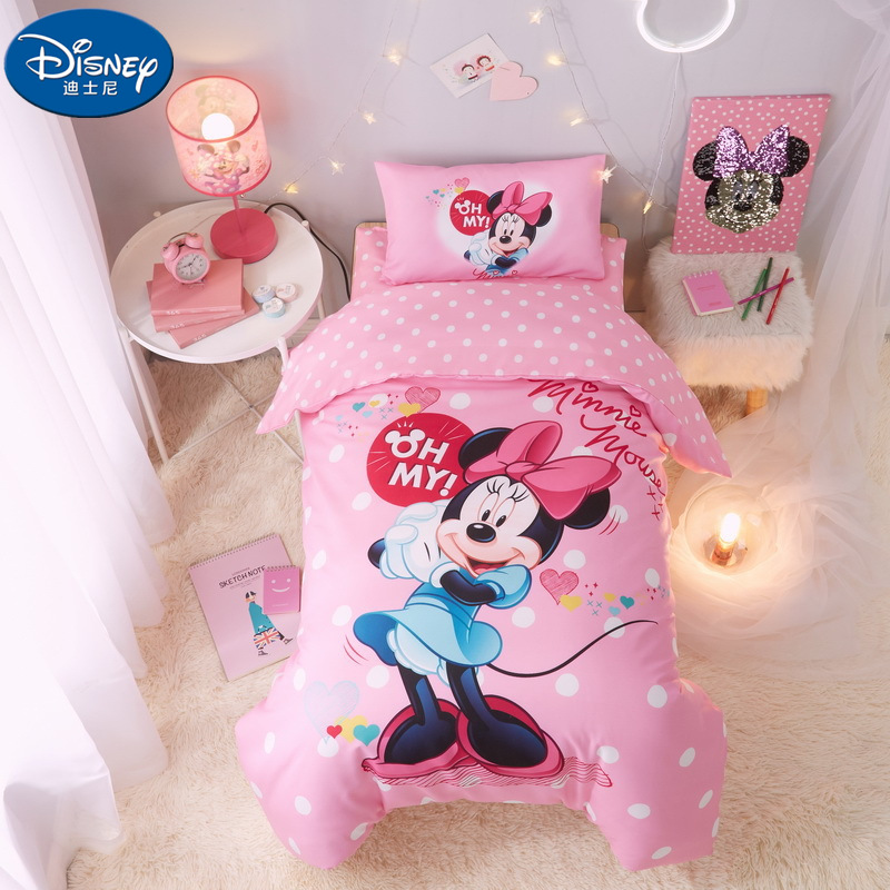 Disney 3PCS Baby Cot Bedding Sets Minnie Mickey Mouse Pink Princess Sophia US Captain Cartoon Quilt Cover Children 60x120cm Cot