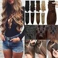 EUA BANCO de Longa 100% Real Extensão Natural do cabelo 8 pcs Cabelos Cacheados ondulado cabelo Sintético Grampo em Extensões Do Cabelo cabeça Cheia 18 Clips
