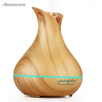 Aromacare 400ml Humidifier Vase Shape Wood Grian Humidificador Aromatherapy Aroma Diffuser Essential Oil With Timer Setting