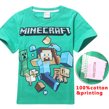 2018 Sommer Minecraft print Cartoon Boy T-Shirt Kurzarm T-Shirt 100% Baumwolle Kinder T-Shirts Baby Jungen Top Kids Casual Bluse