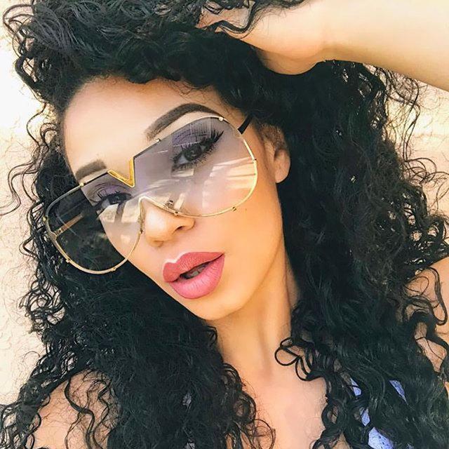 Hot New Arrival Women Brand Designer Men Luxury Mirror Sunglass V Oversize Clear Female 2018 Sun Glass Eyeglass Female Flat Top