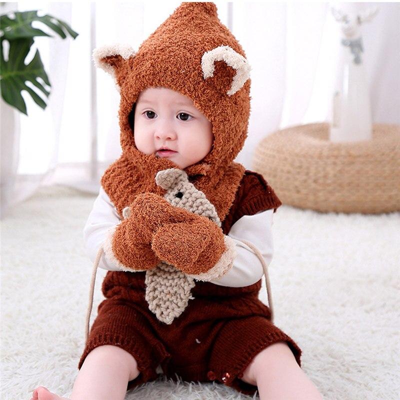 3 Teile/satz Winter Hut & Schal & Handschuhe Sets Kinder Hüte Schals Und Handschuhe Gemvie Baby Nette Cartoon Gestrickte Kappen Stricken Schal Handschuh