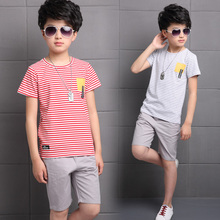 Baby Boy Clothing Set Summer 2019 New Cotton Boy Clothing Set T-shit Pants 2pcs Gentleman Pullover Striped Children Sports Suit цены