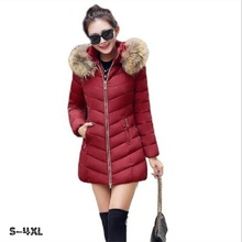 Winter jacket women 2017 Korean version of the new long coat coat Slim cotton large fur collar down cotton jacket jacket female 2018 new girls in the winter of the south korean version of the thick down jacket with a long coat in the hair collar and jacket