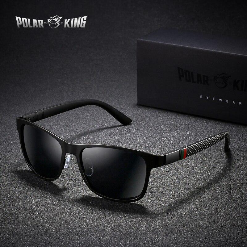 POLARKING Brand Metal Designer Polarized Sunglasses For Driving Men Oculos Square Sun Glasses For Men's Fashion Travel Eyewear
