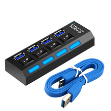 Usb hub 4 port 5Gbps Multiple usb 3.0 hub with independent switch 3.0 splitter with power adapter 3.0 usb hub for PC laptop