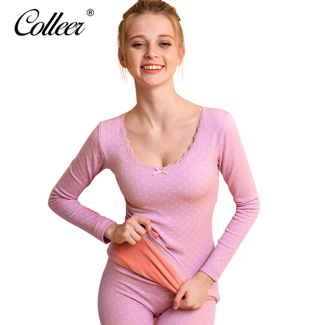 106f70627536e COLLEER Women Shapers Sets Modal Top Pants Thermal Underwear Sexy Lace Thin  Home Clothes Elastic Body Shaper Long Johns Female