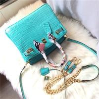 luxury designer rocodile pattern tote Genuine Leather handbags women chain shoulder bags brand ladies hand bags purse bolsos sac