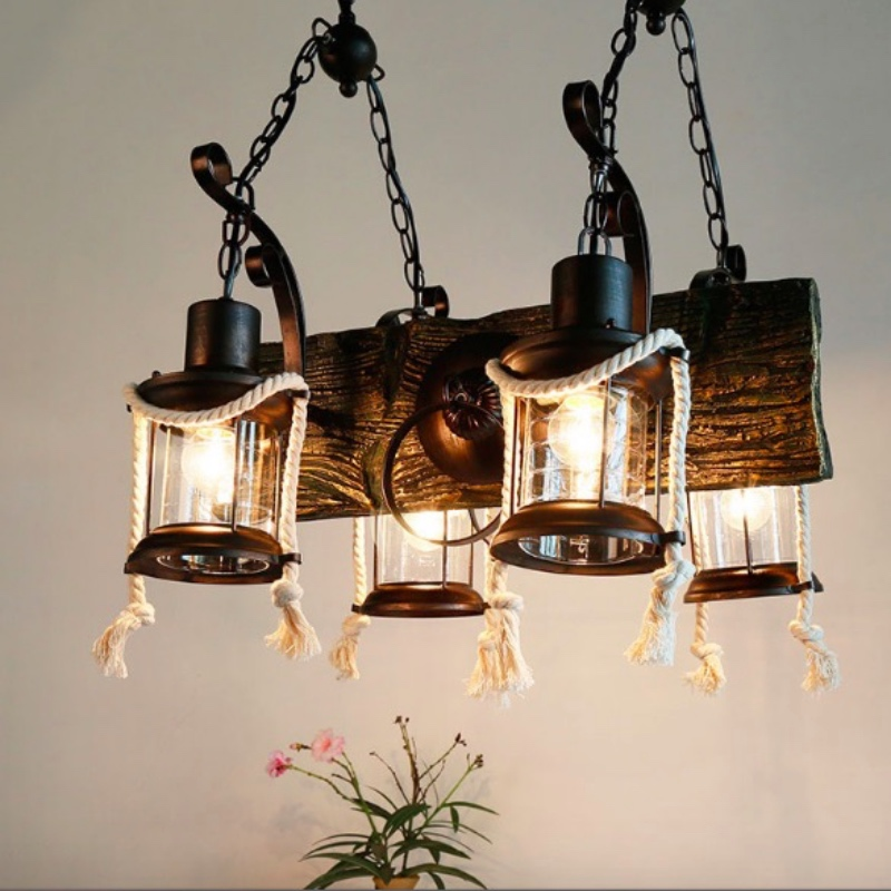 цены  Vintage Loft America Country Resin Iron Glass Lantern E27*4 Heads Pendant Lamp for Living Room Bar Dining Room Shop Deco 1797