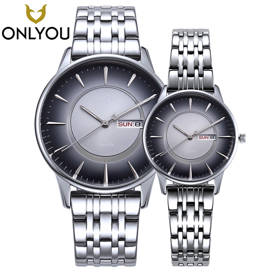 ONLYOU Couple Watches Fashion Stainless Steel Casual Men Wristwatch Sport Style Women Week Display Creative Watches Ladies